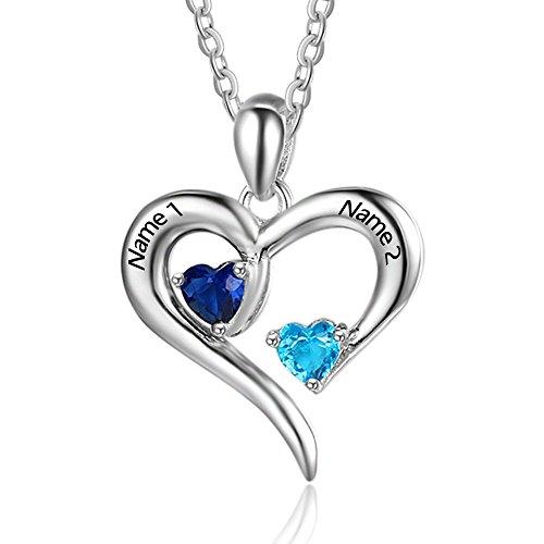 Lam Hub Fong Personalisierte Sterling Silber Halskette 2 Namen simulierte Birthstones Beziehung Halsketten 2 Paar Herz Name gravierte Anhänger für Paare (Silber)