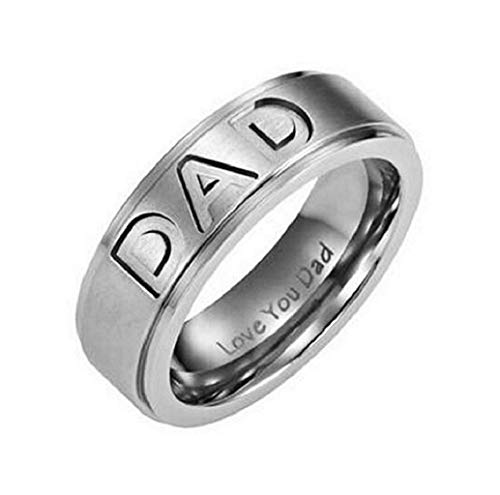 EVRYLON Herrenring Ring für Herren Ehering Glaubensring Love You Dad Papa Silber Ich Liebe Dich Papas Vater Messen Silberne Farbe Ringgröße DE 62 (19.7)