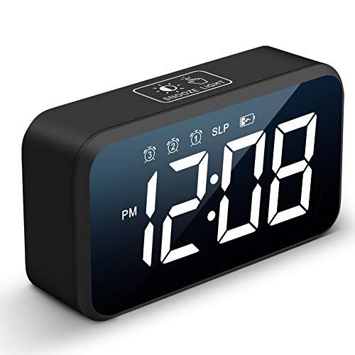Loud Alarm Clock for Heavy Sleepers,72-120dB Adjustable Loud Volume, 4 Brightness Dimmer,3 Alarm Settings,30 Music Ringtones,Kids Clock,Smart LED Digital Electric Clocks for Bedside Bedroom (Black)