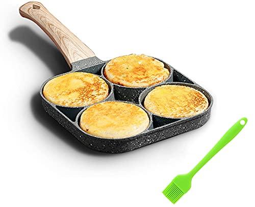Padella per uova a 4 fori, padella antiaderente con manico in legno, lavorare con fiamma libera e fornello a gas, adatto per hamburger all'uovo, Dare un pennello ad olio