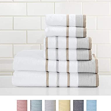 Great Bay Home 6-Piece Luxury Hotel/Spa 100% Turkish Cotton Striped Towel Set, 500 GSM. Includes Bath Towels, Hand Towels and Washcloths. Noelle Collection By Brand. (Glacier Grey/Capuccino)