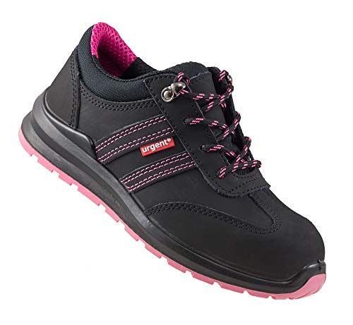 Urgent 214 S1 Arbeitsschuhe professionelle Sicherheitsschuhe Damen Schuhe Metallkappe Nubukleder antielektrostatisch geschnürtes rutschfest SRA PU/PU atmungsaktiv EN20345 Schwarze-rosa (Numeric_36)