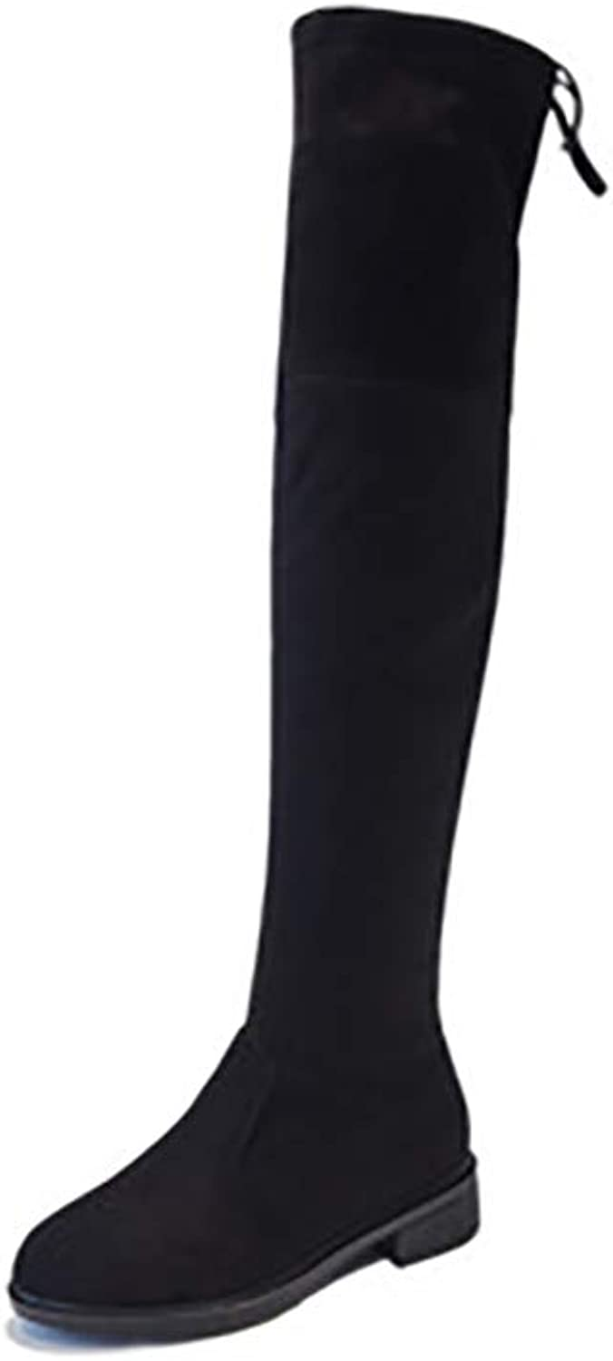 Womens Ladies High Knee Boots Autumn and Winter Over The Knee Boots Women High Heel Women's shoes Show Thin Women's Boots,Lowheel3cm,36