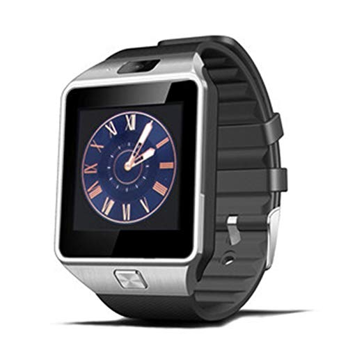 XUEXIU Smart Watch DZ09 SmartWatch Pedómetro Reloj De La Tarjeta Tarjeta Slot Push Mensaje Bluetooth Connectivity Android Teléfono Hombres Reloj (Color : Silver)