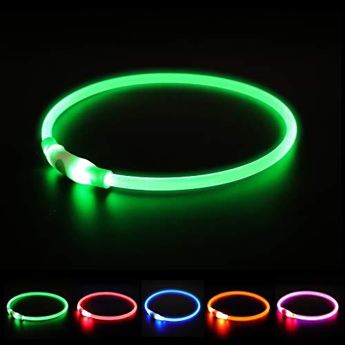 NASTRA Leuchthalsband Hund,LED Hundehalsband Leuchtend USB Wiederaufladbar, Längenverstellbarer Haustier Sicherheit Kragen für Hunde und Katzen, 3 Modus