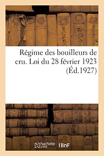 Régime des bouilleurs de cru. Loi du 28 février 1923