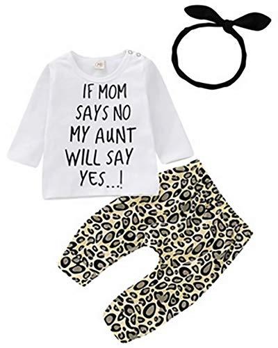 SUPEYA Baby Girls Long Sleeve My Aunt Says Yes Shirts Tops Leopard Long Pants Heaband