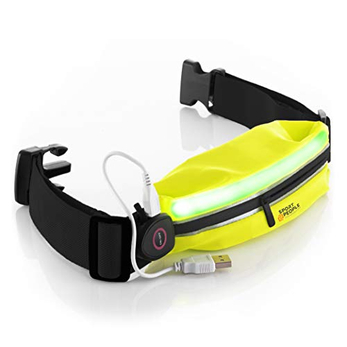 sport2people LED Reflective Running Belt Pouch with USB Rechargeable Light - Key, iPhone X 7 8 11 12 Cell Phone Holder for Runners - Best Visibility During Walking and Cycling (Fluo Yellow)