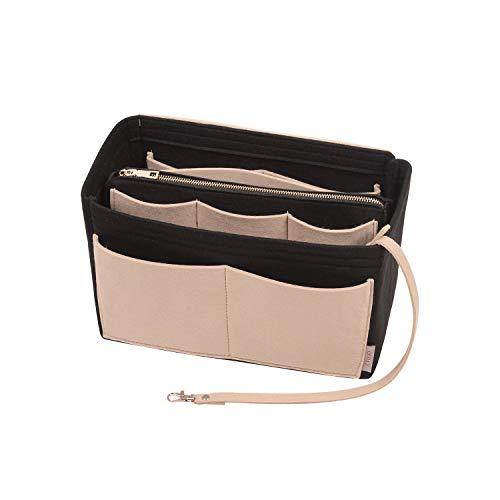 Purse Organizer Insert, Felt Bag organizer with zipper, Handbag & Tote Shaper, Fit Speedy, Neverfull, Tote (Large, Beige and Black)