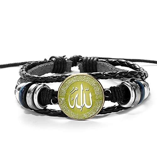 ZFHUAFENG Arabic Muhammad Islamic Leather Bracelet God Allah Charms Bracelets Men Religious Faith Muslim Jewelry Pulseira Masculina,as Shown A