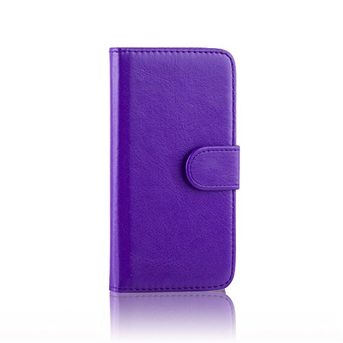 32nd PU Leder Mappen Hülle Flip Case Cover für Alcatel Idol 3 (4), Ledertasche hüllen mit Magnetverschluss und Kartensteckplatz - Violett