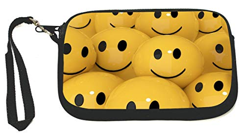 Yellow Smiley Face Balls Zipper Coin Purse - Wristlet - Camera Case - MP3 Case - Ideal for carrying Phone, Cash, Cosmetics, mp3 player, etc. etc.