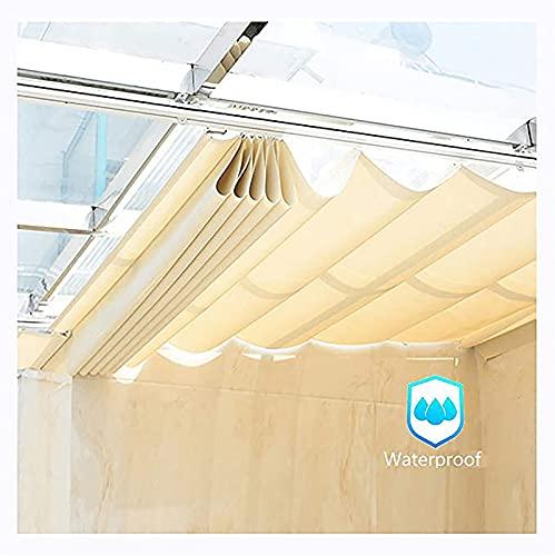 GAYAN Extensible Velas De Sombra Onduladas, Impermeable Poliéster Tela para Pérgola Plataforma Patio Habitación Sun, Toldo para Jardín,Personalizable,Beige,1.05x3m