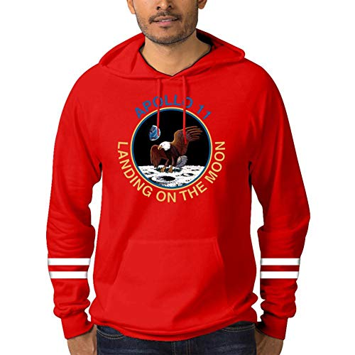 Judith Wordsworth Men's Hoodie Sweater Landing on The Moon, Apollo 11 Hooded Sweatshirts Long Sleeve Cotton Pullover S Red