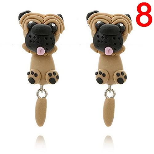 XKMY Pendientes para mujer hechos a mano de arcilla polimérica con animales 3D lindos pendientes de perro con diseño de panda, pendientes para mujer (color de metal: 8)