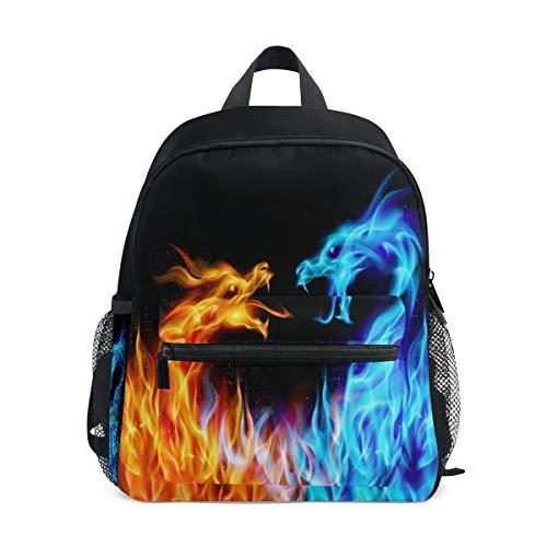Rode Blauwe Vuur Draak Pre School Student Geïsoleerde Peuter Rugzak, Monster Dier 12