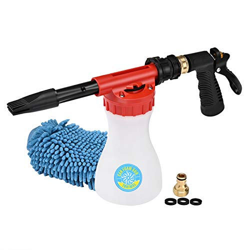 TRKIMAL Car Washing Foam Gun Soap Foam Blaster, Adjustable Ratio Dial Car Foam Snow Gun Fit Universal Standard Garden Hose, Car Washer Sprayer for Home Garden Use 1L Bottle