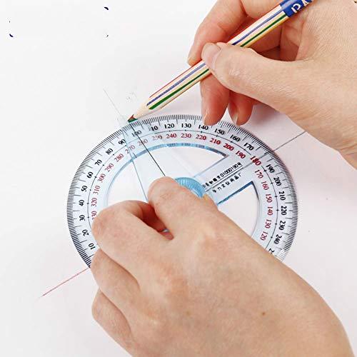 1 x rundes 10 cm transparentes Kunststoff-Lineal, 360 Grad-Zeiger, Winkelmesser für Schule, Büro, Zeichnung, Zubehör Wie abgebildet