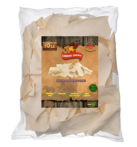 Cowdog Chews Natural Rawhide Chips – Premium Long-Lasting Dog Treats with Thick Cut Beef Hides, Processed Without Additives or Chemicals (10 Pounds)