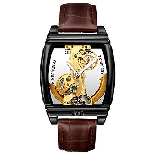 Reloj transparente para hombre, caja dorada, reloj de pulsera de piel auténtica, con cuerda automática, relojes mecánicos automáticos CHFYG (color: negro-marrón-SH099)