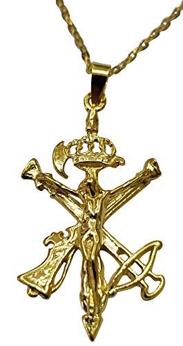 Sicuore Collar Colgante Cruz Cristo De Mena Cruz del Legionario y del Voluntariado Chapado en Oro- Plata de Ley 925 Incluye Cadena 45cm Y Estuche para Regalo