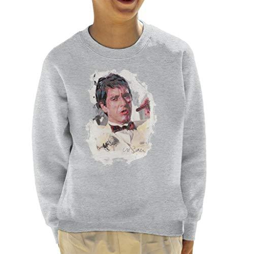 VINTRO Al Pacino Scarface Tuxedo das Sweatshirt des Kindes Original Porträt von Sidney Maurer (Grau Meliert,XS)