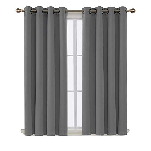 Deconovo Solid Room Darkening Curtains Thermal Insulated Blackout Curtains Grommet Blind Curtains for Living Room 52W x 63L Inch Light Grey 1 Pair