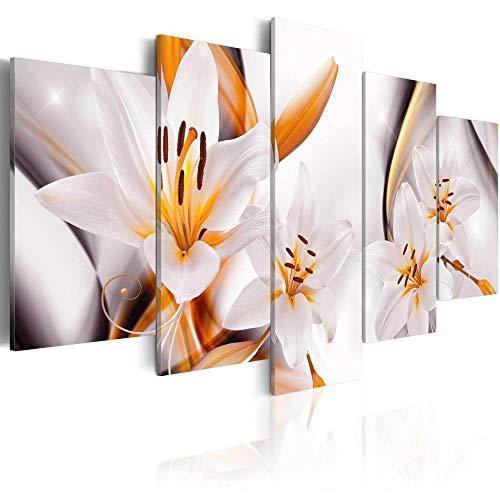 runtooer Bilder Dekorative Malerei Spray Malerei Leinwand Malerei 5 Stück Modern Lilium Regale Leinwand Wandbild, Möbel Art Deco, Rahmen