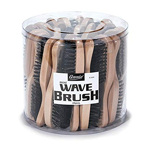 Annie Mini Wave Brush Bulk, Hard Bristles, 24 Count