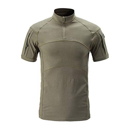 Kaiyei Hombre Camisas Tactica Militar Manga Corta Slim Fit C