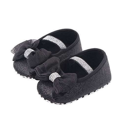 Carolilly Zapatos de princesa para verano, primavera, otoño, niñas, bebé, princesa, con purpurina, arco con borlas, suelo suave, antideslizantes, de piel Blanco 9-12 Meses