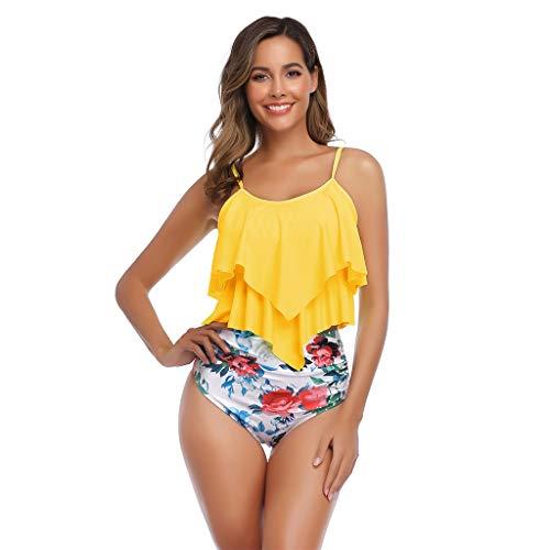 KunmniZ Mujeres Sexy Bikini Set Folleity Charity Traje Flotante Cintura Alta Cama Belly Traje Notable Traje de baño ecológico para la Tira de Vacaciones Playa de