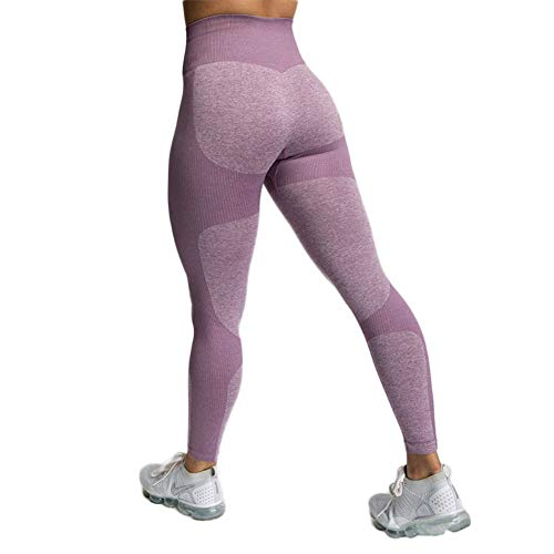 SotRong Damen Stricken Sport Leggings Yoga Fitness Hose Lange Sporthose Stretch Workout Fitness Jogginghose Sportthights Mädchen Sportoutfit Violett S