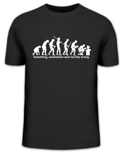 Shirtstreet24, Evolution SOMETHING, SOMEWHERE... Compter, PC Funshirt, Größe: S,schwarz