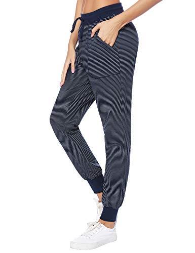 Hawiton Pantalones de Pijama Mujer Algodón Largo Pantalón Pijama de Estar por Casa Pantalones de Dormir Mujer Invierno de Rayas