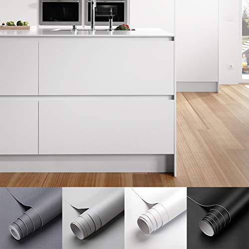 KINLO Matte Klebefolie Weiß 0.61x5m Selbstklebende Möbelfolie Verdickte Küchenschrankfolie wasserfest Aufkleber aus PVC Selbstklebende Tapete Dekofolie Ohne Geruch Kratzfest für Wand Küchen Möbel