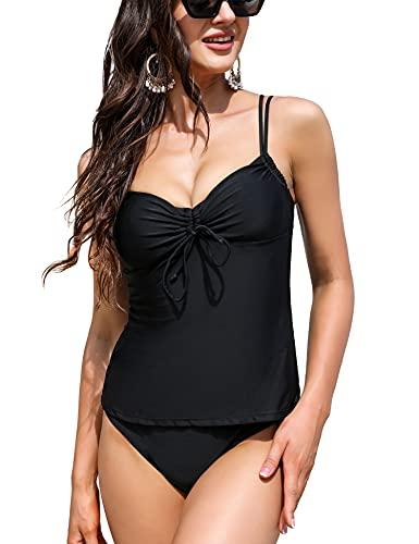 Irevial Zweiteiler Swimsuit Damen Tankini Sexy Push-Up Frauen Sommer V-Ausschnitt Badeanzug Elegant 2 Piece Bademode Für Meeresstrand Poolparty Urlaub XXL Schwarz