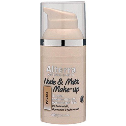 Alterra Nude & Matt Make-up 30 ml Farbe 02: Sand, für einen seidenmatten & ebenmäßigen Teint, mit Bio-Mandelöl, Alegenextrakt & Hyaluronsäure, vegan, zertifizierte Naturkosmetik
