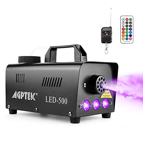 Fog Machine, AGPTEK Automatic Spray Smoke Machine with Colorful LED Light Effect, Wireless and Wired Remotes with…