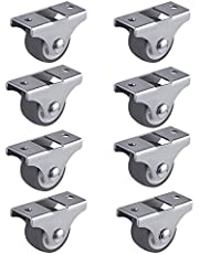 SUUER 8PCS TPE Caster Wheels Duty Fixed Casters with Rigid Non-Swivel Base Ball Bearing Trolley Wheels Top Plate 1 Inch