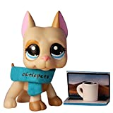 PowerToy lps Great Dane 1647, lps Great Dane Dog Yellow and Tan Dog with Blue Eyes with lps Accessories Collar Laptop Coffee Kids Gift