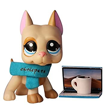 PowerToy lps Great Dane 1647 lps Great Dane Dog Yellow and Tan Dog with Blue Eyes with lps Accessories Collar Laptop Coffee Kids Gift