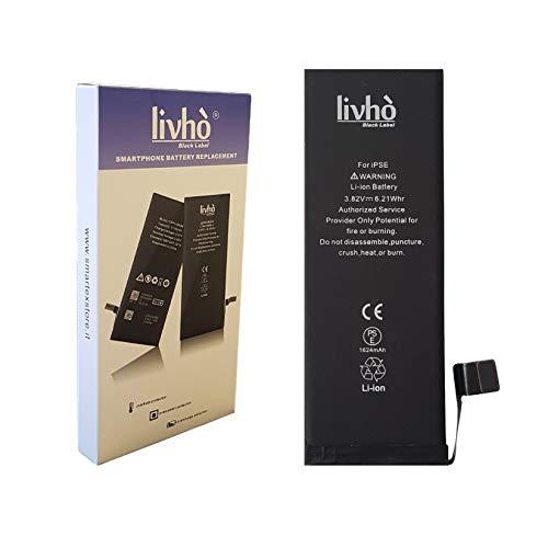 livhò® Black Label Batterie de Remplacement Compatible avec iPhone Se [0 Cycle de Recharge, Dure Plus Longtemps]
