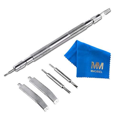 MMOBIEL Outil en Acier Inoxydable Compatible avec Goupilles de Montres/Bracelets (7 pièces) + Chiffon Microfibres
