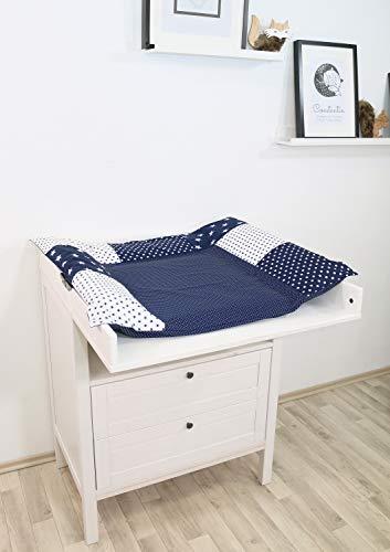 ULLENBOOM ® Wickelauflagenbezug 75x85 cm Blaue Sterne (Made in EU) - Bezug für Wickelauflage, Baby Überzug für Wickelunterlage aus Baumwolle, Wickelbezug für Wickeltisch, Motiv: Sterne, Punkte