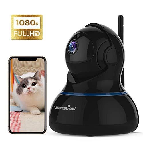 Wansview WLAN IP Kamera, Überwachungskamera 1080P HD mit Schwenk- und Neige, 2-Wege Audio und Nachtsicht Sicherheitskamera Home Indoor-Kamera für Haustier und Baby Monitor Q3S Schwarz