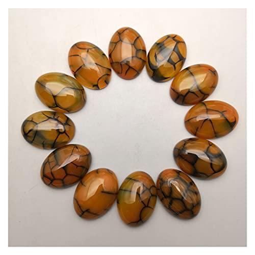 YSJJRGN cabujones de Piedras Preciosas Charm de Moda 25x18mm Amarillo Onyx Cuenta de Piedra Natural para joyería Fabricación de 12pcs Oval Cabochon Anillo Anillo Pendiente Accesorios