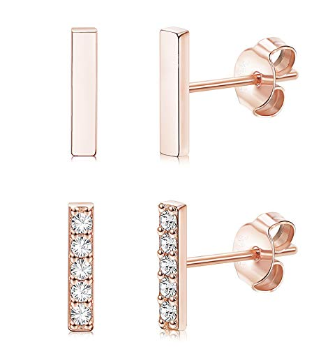 Sllaiss 925 Sterling Silver Bar Earrings 2 Pairs For Women Girls CZ Stud Earrings Set Rectangle Hypoallergenic Rose Gold