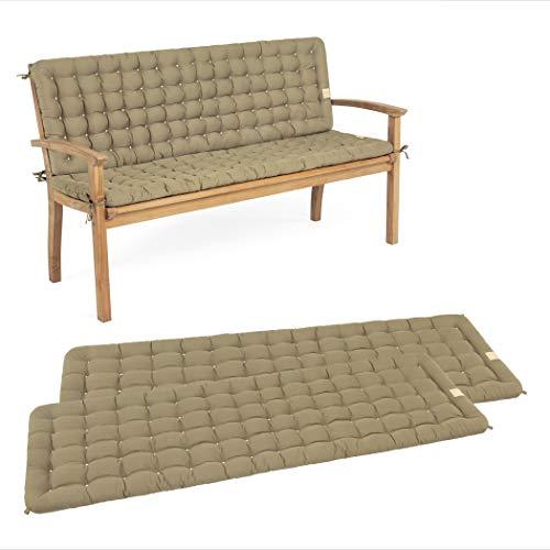 HAVE A SEAT Luxury - Sitzpolster-Set mit Rückenteil für Gartenbank, Bequeme Gartenbankauflage, waschbar bis 95°C, pflegeleichtes Sitzbank Polster, Made in Germany (100 x 48 cm, Goldbraun)