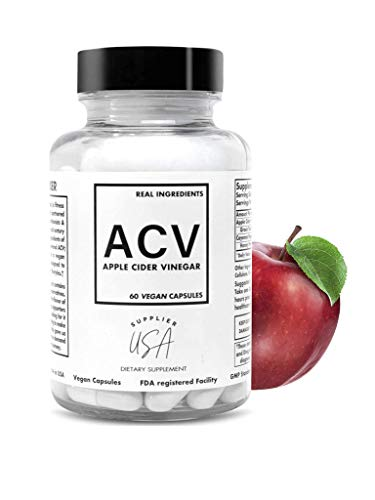 ACV Apple Cider Vinegar Capsules - Natural Powerful 500mg Premium-Non-GMO Vegetarian Cider Capsules, Made in USA FDA Facility - 60 Capsules
